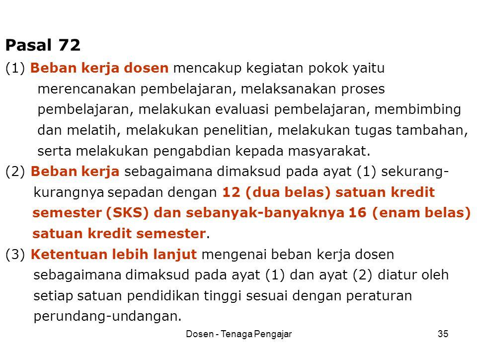 Dosen - Tenaga Pengajar35 Pasal 72 (1) Beban kerja dosen mencakup kegiatan pokok yaitu merencanakan pembelajaran, melaksanakan proses pembelajaran, me
