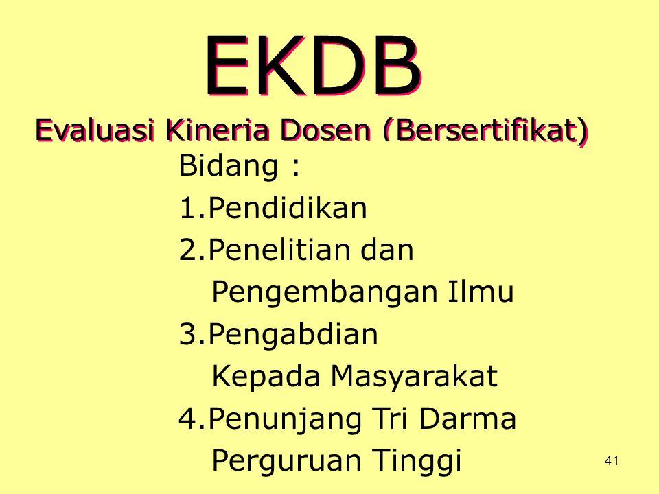 Dosen - Tenaga Pengajar41 EKDB Evaluasi Kinerja Dosen (Bersertifikat) EKDB Evaluasi Kinerja Dosen (Bersertifikat) Bidang : 1.Pendidikan 2.Penelitian d