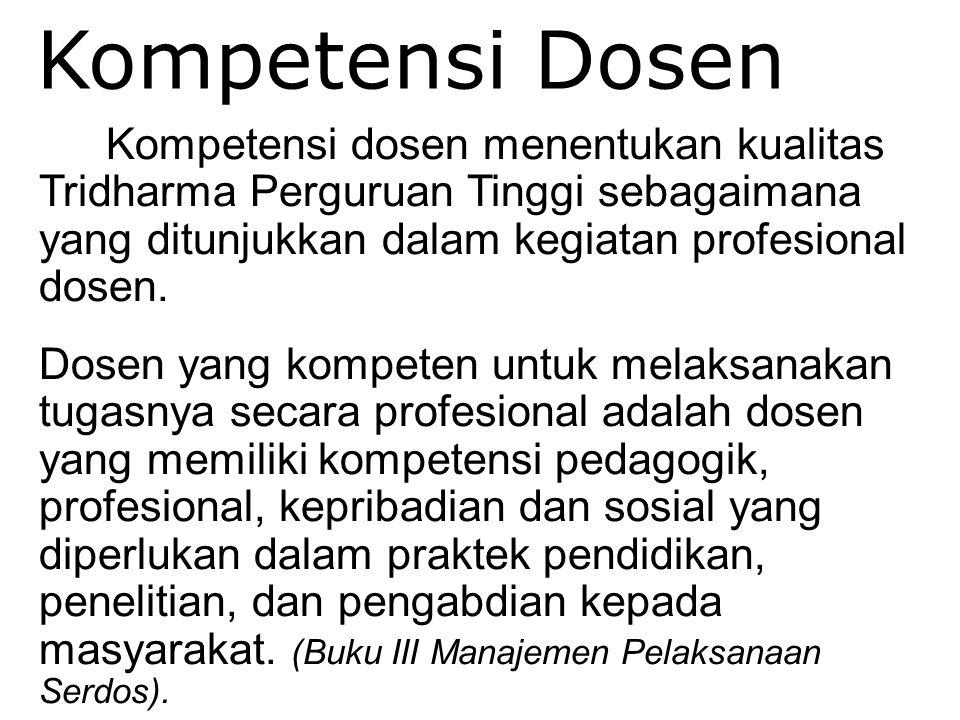 Dosen - Tenaga Pengajar59 Kompetensi Dosen Kompetensi dosen menentukan kualitas Tridharma Perguruan Tinggi sebagaimana yang ditunjukkan dalam kegiatan
