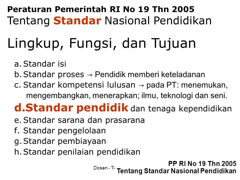 Dosen - Tenaga Pengajar60 PP RI No 19 Thn 2005 Tentang Standar Nasional Pendidikan Peraturan Pemerintah RI No 19 Thn 2005 Tentang Standar Nasional Pen
