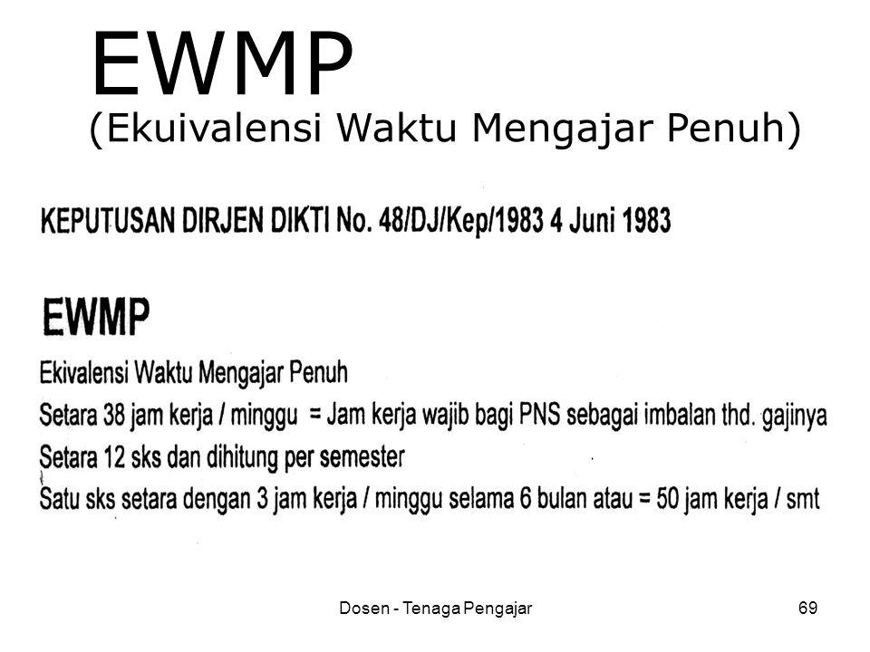Dosen - Tenaga Pengajar69 EWMP (Ekuivalensi Waktu Mengajar Penuh)