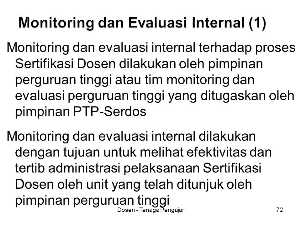 Dosen - Tenaga Pengajar72 Monitoring dan evaluasi internal terhadap proses Sertifikasi Dosen dilakukan oleh pimpinan perguruan tinggi atau tim monitor
