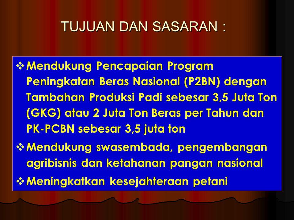 TUJUAN DAN SASARAN :  Mendukung Pencapaian Program Peningkatan Beras Nasional (P2BN) dengan Tambahan Produksi Padi sebesar 3,5 Juta Ton (GKG) atau 2