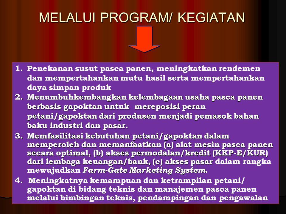 MELALUI PROGRAM/ KEGIATAN 1.Penekanan susut pasca panen, meningkatkan rendemen dan mempertahankan mutu hasil serta mempertahankan daya simpan produk 2