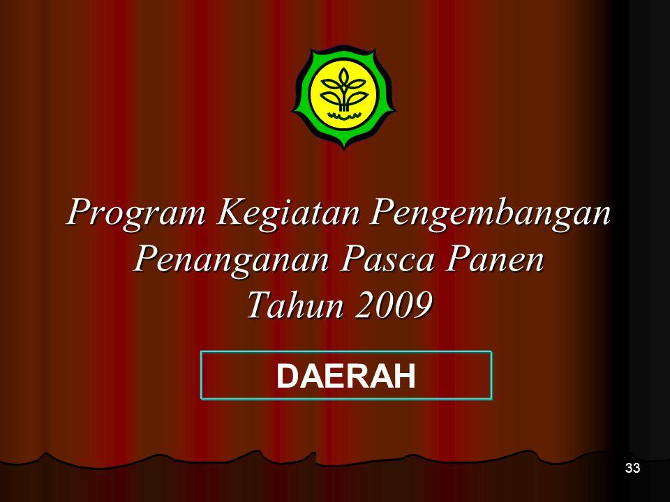 33 Program Kegiatan Pengembangan Penanganan Pasca Panen Tahun 2009 DAERAH