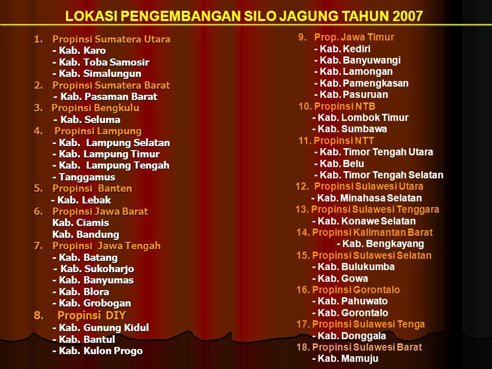 1.Propinsi Sumatera Utara - Kab. Karo - Kab. Karo - Kab. Toba Samosir - Kab. Simalungun 2. Propinsi Sumatera Barat - Kab. Pasaman Barat - Kab. Pasaman
