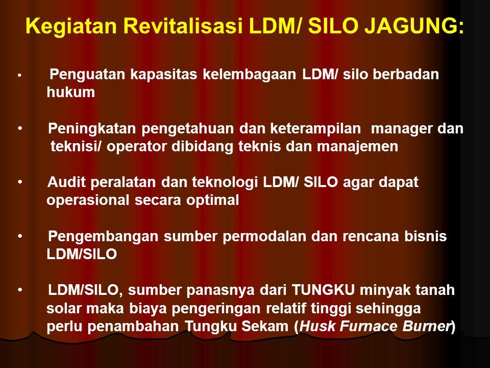 Kegiatan Revitalisasi LDM/ SILO JAGUNG: • Penguatan kapasitas kelembagaan LDM/ silo berbadan hukum • Peningkatan pengetahuan dan keterampilan manager