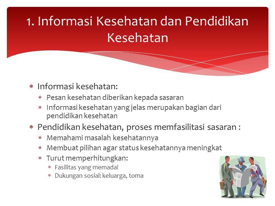  Informasi kesehatan:  Pesan kesehatan diberikan kepada sasaran  Informasi kesehatan yang jelas merupakan bagian dari pendidikan kesehatan  Pendid