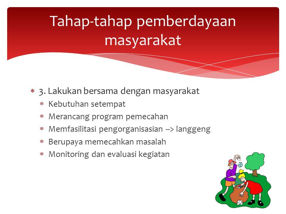  3. Lakukan bersama dengan masyarakat  Kebutuhan setempat  Merancang program pemecahan  Memfasilitasi pengorganisasian --> langgeng  Berupaya mem