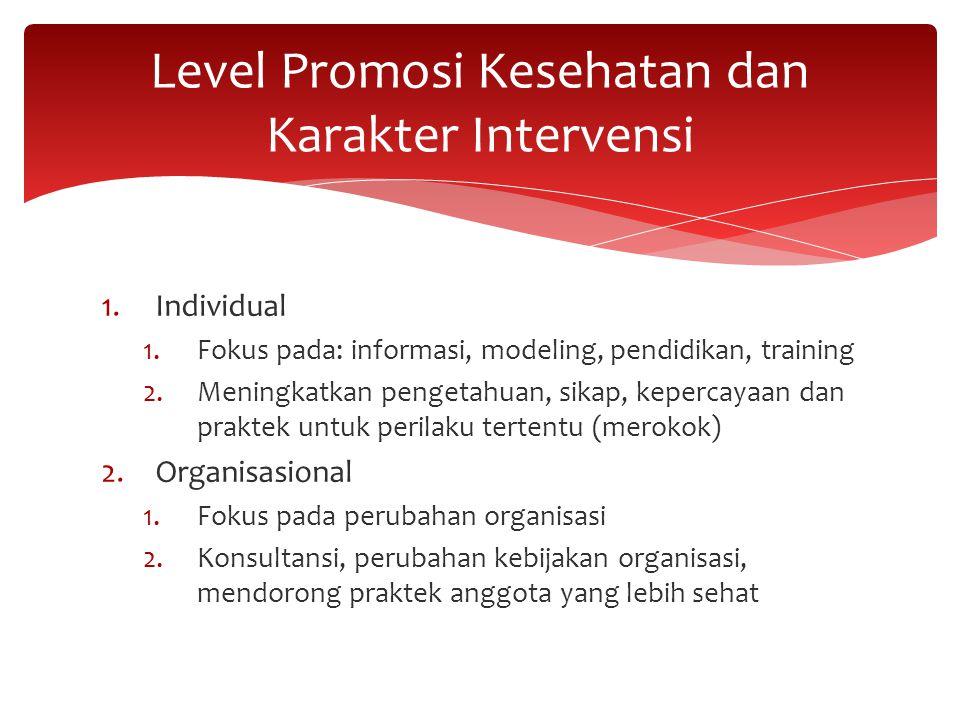 1.Individual 1.Fokus pada: informasi, modeling, pendidikan, training 2.Meningkatkan pengetahuan, sikap, kepercayaan dan praktek untuk perilaku tertent