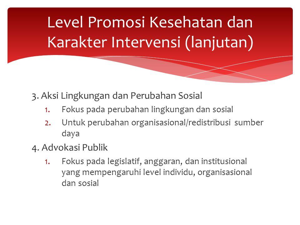 3. Aksi Lingkungan dan Perubahan Sosial 1.Fokus pada perubahan lingkungan dan sosial 2.Untuk perubahan organisasional/redistribusi sumber daya 4. Advo
