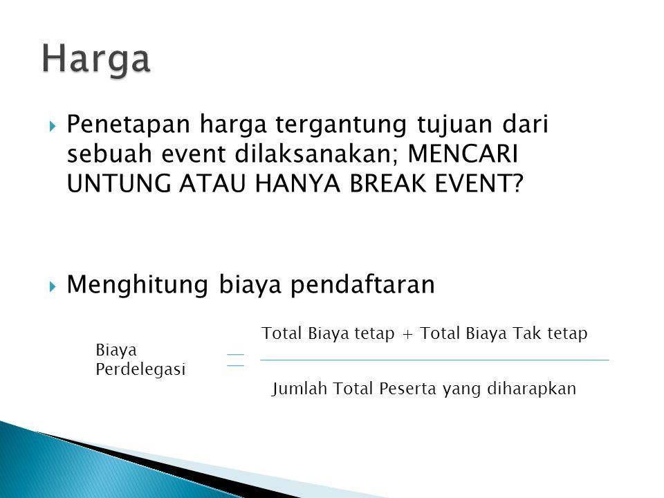  Penetapan harga tergantung tujuan dari sebuah event dilaksanakan; MENCARI UNTUNG ATAU HANYA BREAK EVENT?  Menghitung biaya pendaftaran Biaya Perdel