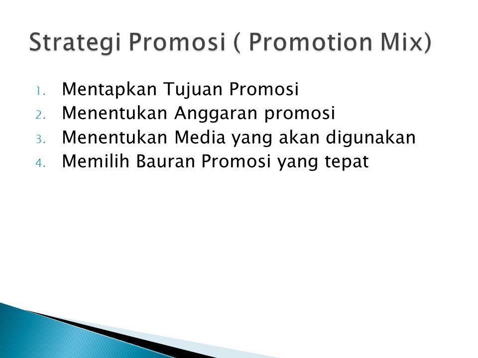 1. Mentapkan Tujuan Promosi 2. Menentukan Anggaran promosi 3. Menentukan Media yang akan digunakan 4. Memilih Bauran Promosi yang tepat
