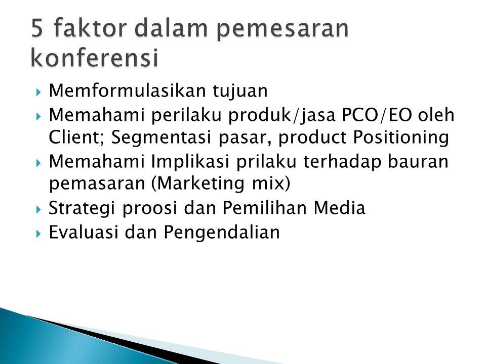  Memformulasikan tujuan  Memahami perilaku produk/jasa PCO/EO oleh Client; Segmentasi pasar, product Positioning  Memahami Implikasi prilaku terhadap bauran pemasaran (Marketing mix)  Strategi proosi dan Pemilihan Media  Evaluasi dan Pengendalian