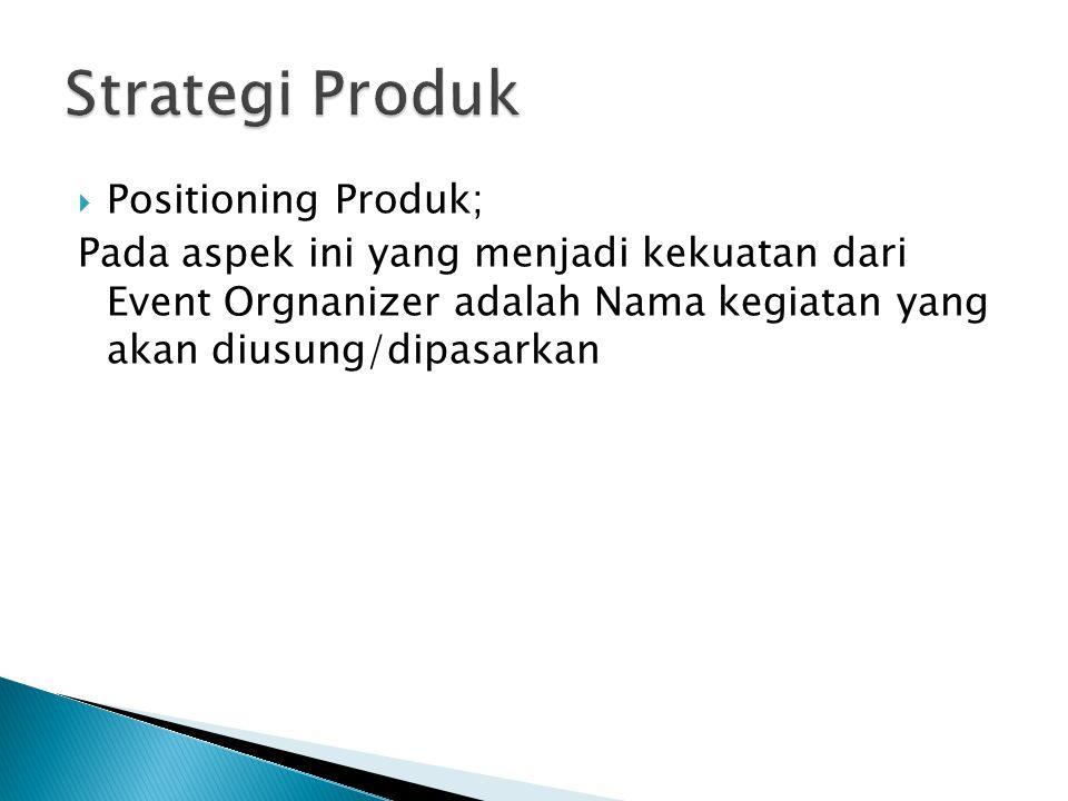  Positioning Produk; Pada aspek ini yang menjadi kekuatan dari Event Orgnanizer adalah Nama kegiatan yang akan diusung/dipasarkan