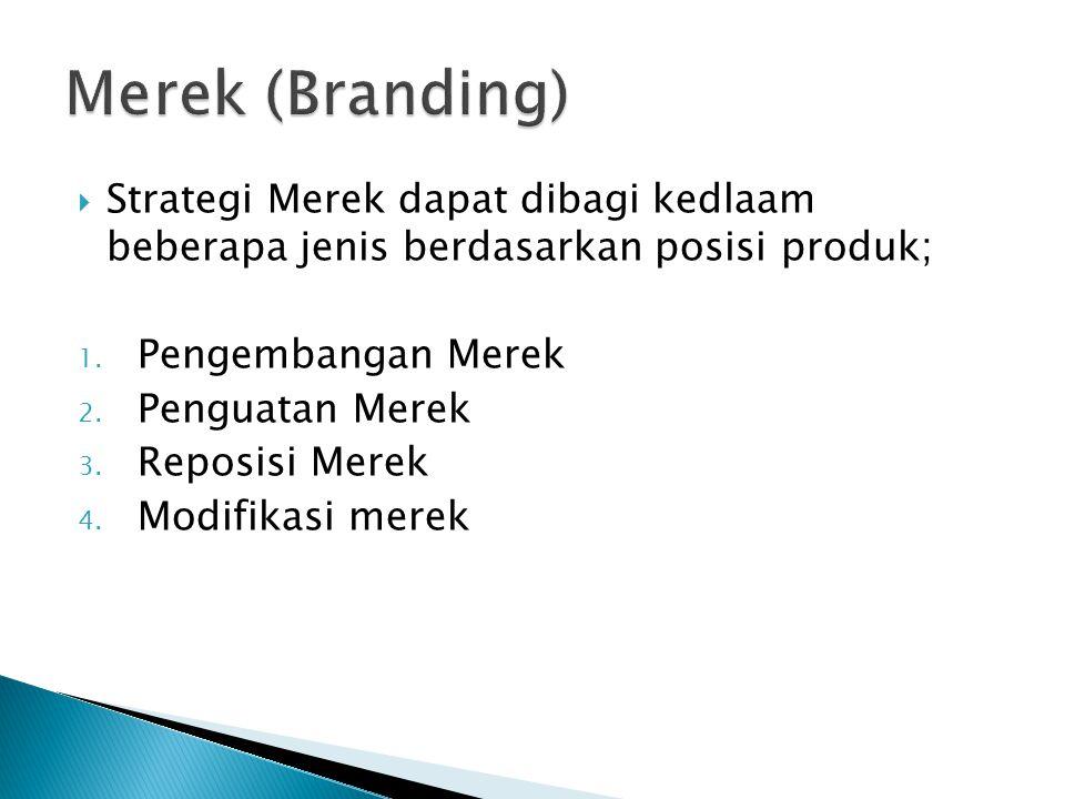  Strategi Merek dapat dibagi kedlaam beberapa jenis berdasarkan posisi produk; 1. Pengembangan Merek 2. Penguatan Merek 3. Reposisi Merek 4. Modifika