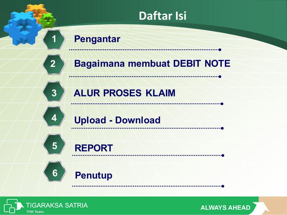 TFM Team. Daftar Isi Bagaimana membuat DEBIT NOTE 1 Upload - Download ALUR PROSES KLAIM3 Pengantar 2 4 REPORT 5 Penutup 6