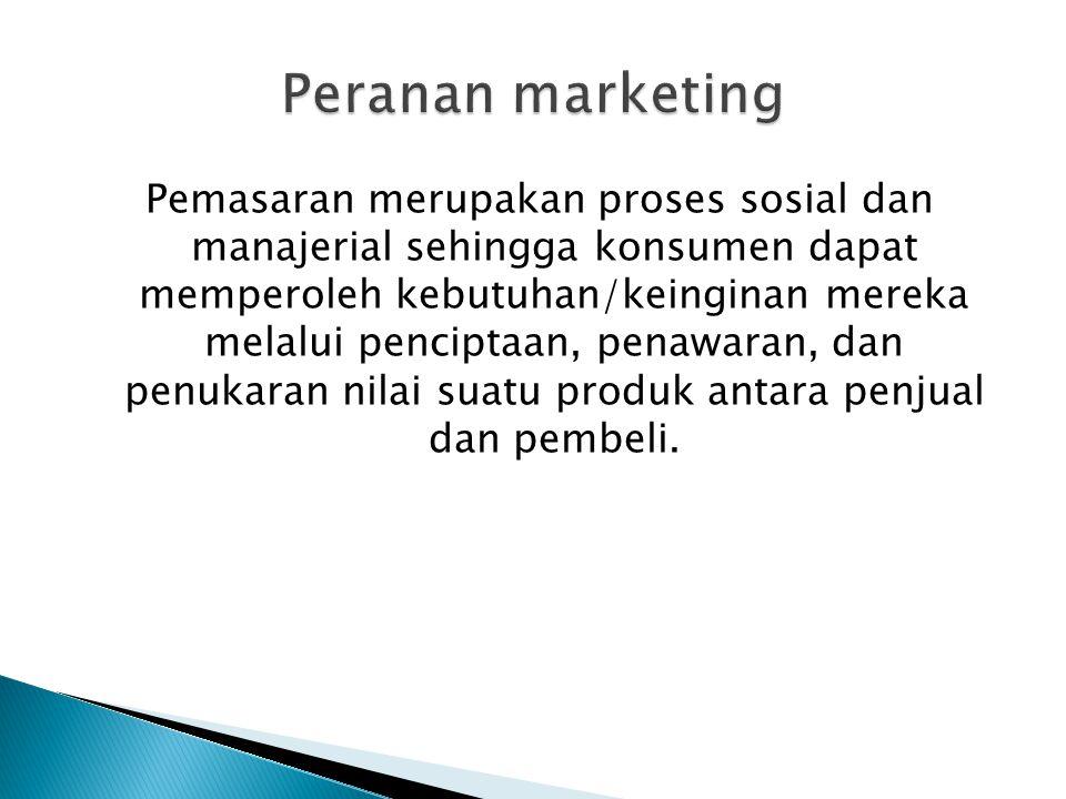 Pemasaran merupakan proses sosial dan manajerial sehingga konsumen dapat memperoleh kebutuhan/keinginan mereka melalui penciptaan, penawaran, dan penu