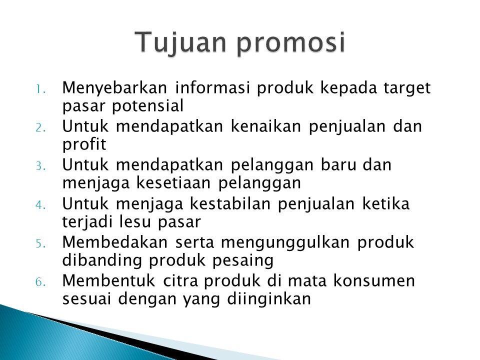 1. Menyebarkan informasi produk kepada target pasar potensial 2. Untuk mendapatkan kenaikan penjualan dan profit 3. Untuk mendapatkan pelanggan baru d