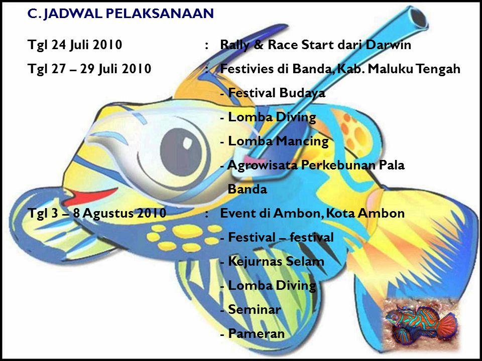 C. JADWAL PELAKSANAAN Tgl 24 Juli 2010:Rally & Race Start dari Darwin Tgl 27 – 29 Juli 2010:Festivies di Banda, Kab. Maluku Tengah - Festival Budaya -