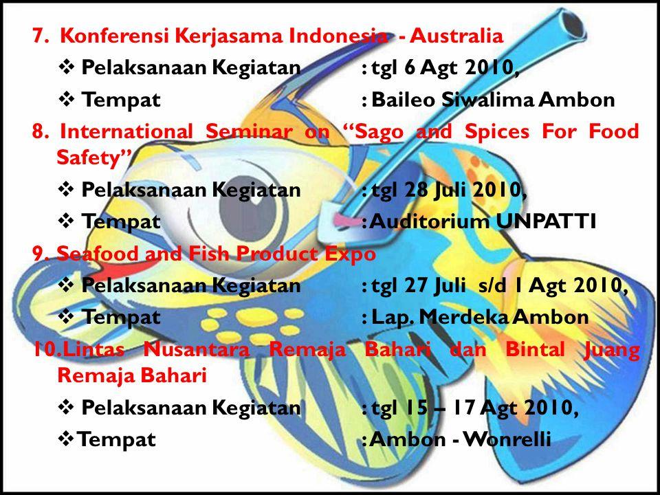 "7. Konferensi Kerjasama Indonesia - Australia  Pelaksanaan Kegiatan: tgl 6 Agt 2010,  Tempat: Baileo Siwalima Ambon 8. International Seminar on ""Sag"
