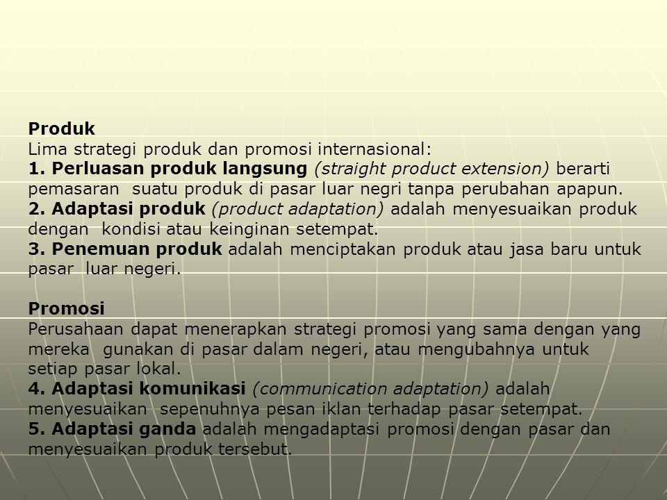 Lima strategi produk dan promosi internasional: 1. Perluasan produk langsung (straight product extension) berarti pemasaran suatu produk di pasar luar