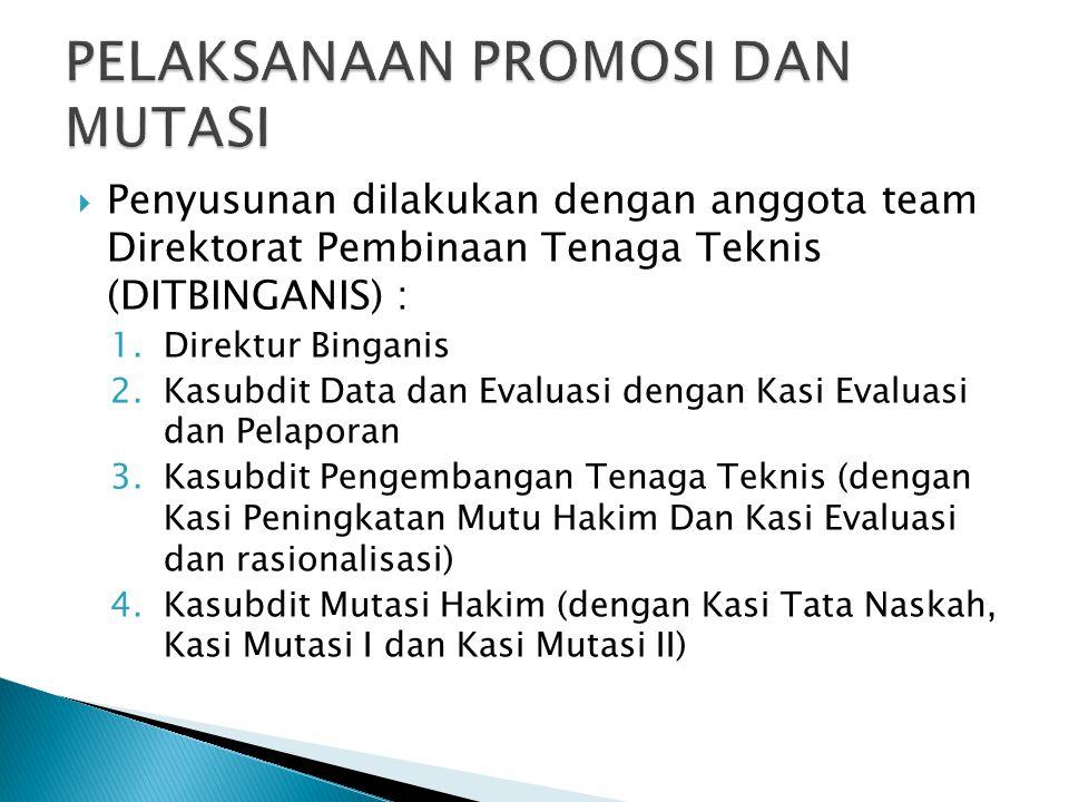  Penyusunan dilakukan dengan anggota team Direktorat Pembinaan Tenaga Teknis (DITBINGANIS) : 1.Direktur Binganis 2.Kasubdit Data dan Evaluasi dengan Kasi Evaluasi dan Pelaporan 3.Kasubdit Pengembangan Tenaga Teknis (dengan Kasi Peningkatan Mutu Hakim Dan Kasi Evaluasi dan rasionalisasi) 4.Kasubdit Mutasi Hakim (dengan Kasi Tata Naskah, Kasi Mutasi I dan Kasi Mutasi II)