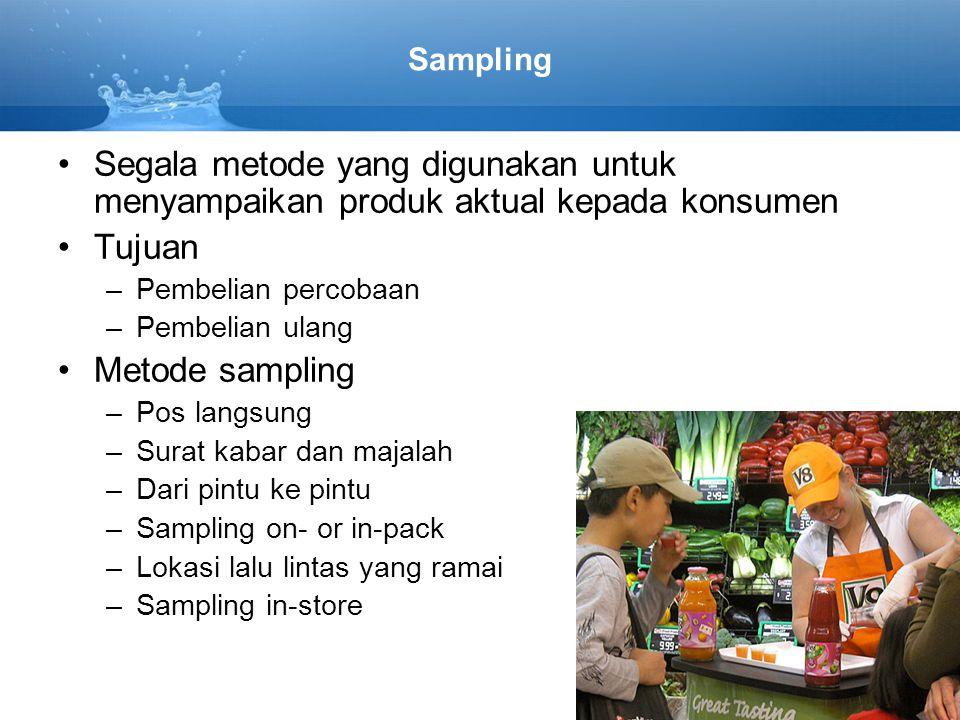 Sampling •Segala metode yang digunakan untuk menyampaikan produk aktual kepada konsumen •Tujuan –Pembelian percobaan –Pembelian ulang •Metode sampling