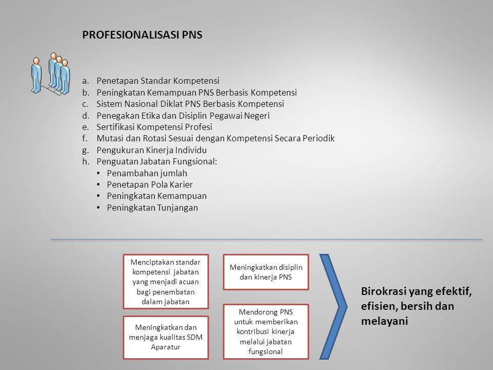 PROFESIONALISASI PNS a.Penetapan Standar Kompetensi b.Peningkatan Kemampuan PNS Berbasis Kompetensi c.Sistem Nasional Diklat PNS Berbasis Kompetensi d