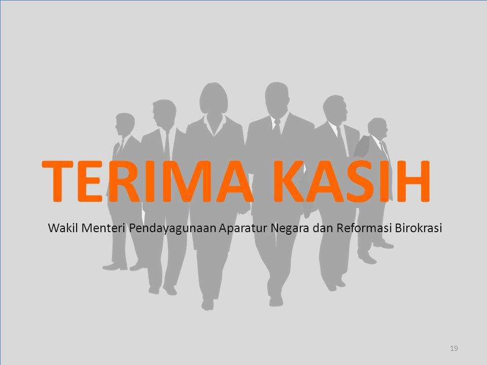 TERIMA KASIH 19 Wakil Menteri Pendayagunaan Aparatur Negara dan Reformasi Birokrasi
