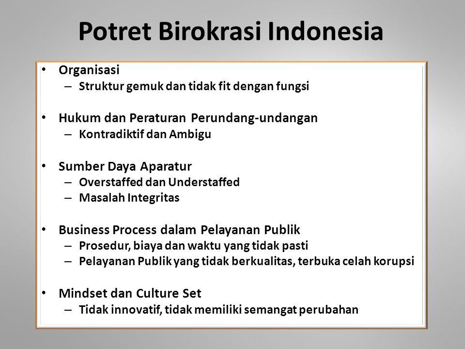 Potret Birokrasi Indonesia • Organisasi – Struktur gemuk dan tidak fit dengan fungsi • Hukum dan Peraturan Perundang-undangan – Kontradiktif dan Ambig