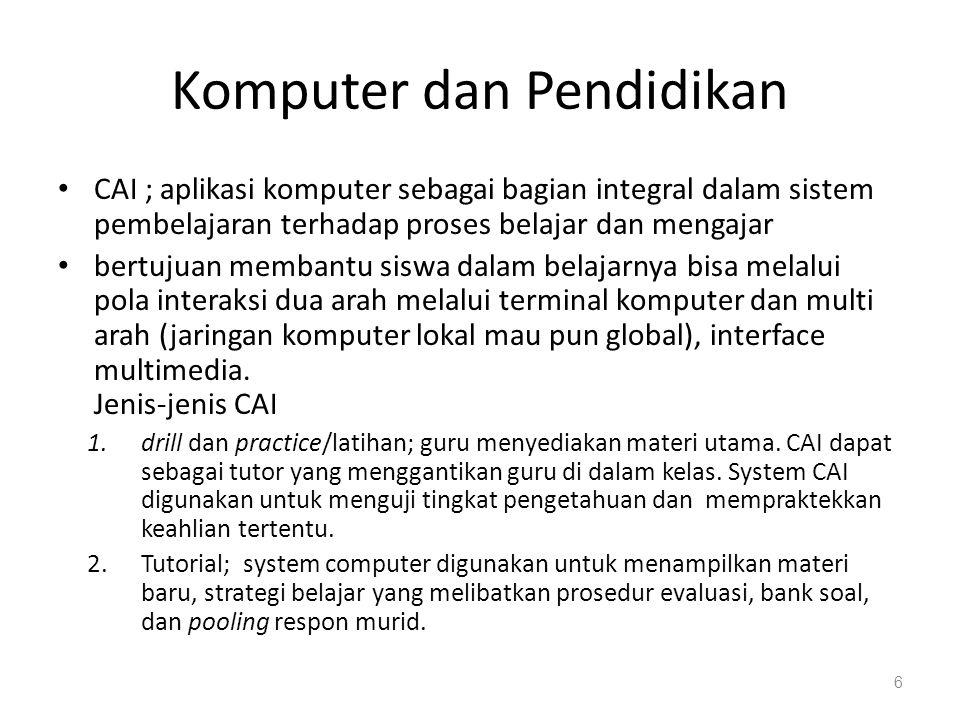 Komputer dan Pendidikan 3.Simulasi; pilihan cara berinteraksi.