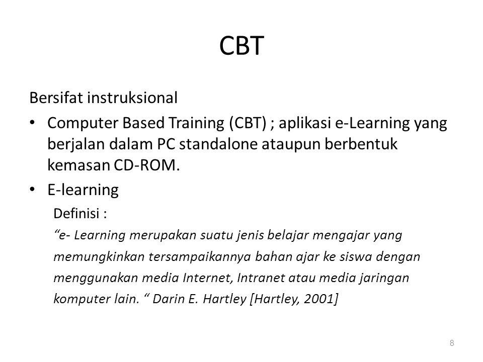 Komponen E-Learning • Infrastruktur e-Learning: dapat berupa personal computer (PC), jaringan komputer, internet dan perlengkapan multimedia, peralatan teleconference apabila memberikan layanan synchronous learning.