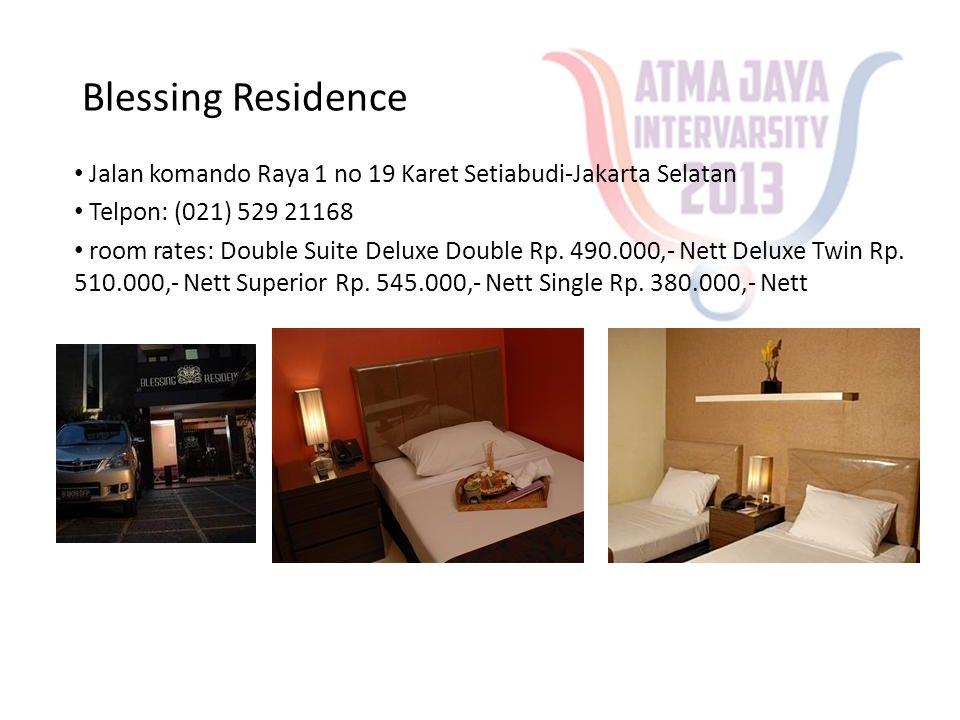 Hotel Aryaduta Semanggi • Jalan Garnisun Dalam no.8 Karet Semangi-Jakarta Selatan • Telpon: (021) 2515151 • room rates: One bedroom Suite IDR 1,170,960.00 Two bedroom Suite Up to 3 IDR 1,317,330.00 Three bedroom suite Up to 4 IDR 1,414,910.00