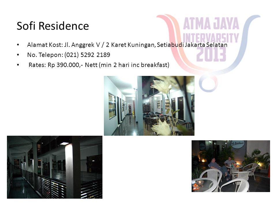 Sofi Residence • Alamat Kost: Jl. Anggrek V / 2 Karet Kuningan, Setiabudi Jakarta Selatan • No. Telepon: (021) 5292 2189 • Rates: Rp 390.000,- Nett (m
