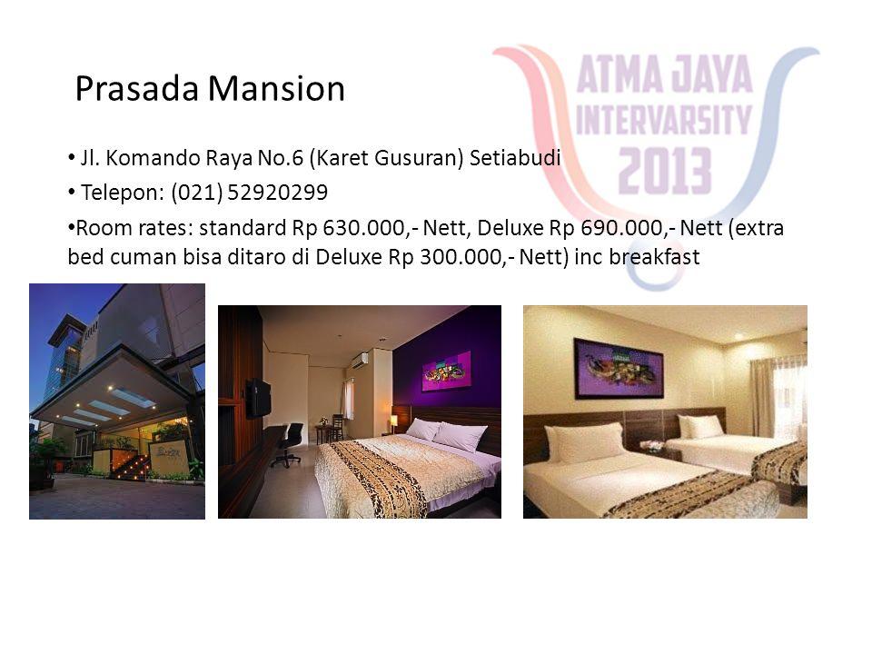 House of Arsonia Tondano • Jalan Danau Tondano no.12, Bendungan Hilir • Telpon: (021) 57906553 • Room rates: Standar room Rp 370.000,- Nett, Superior Room Rp 450.000,- Nett (Extra bed: Rp 135.000,-Nett)