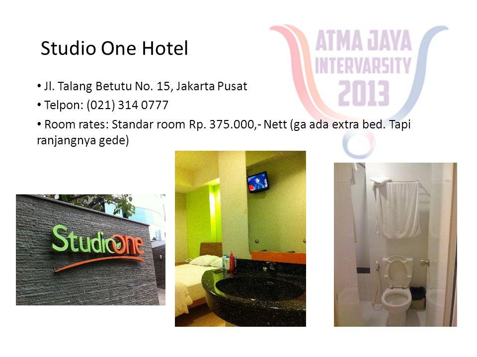 Studio One Hotel • Jl. Talang Betutu No. 15, Jakarta Pusat • Telpon: (021) 314 0777 • Room rates: Standar room Rp. 375.000,- Nett (ga ada extra bed. T