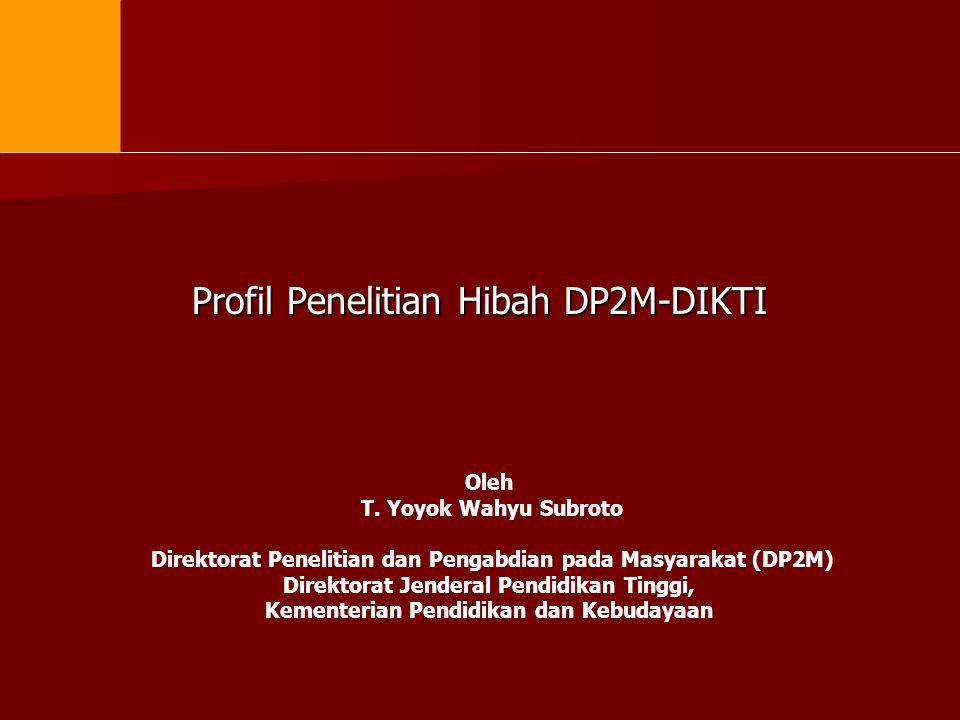 Profil Penelitian Hibah DP2M-DIKTI Oleh T. Yoyok Wahyu Subroto Direktorat Penelitian dan Pengabdian pada Masyarakat (DP2M) Direktorat Jenderal Pendidi