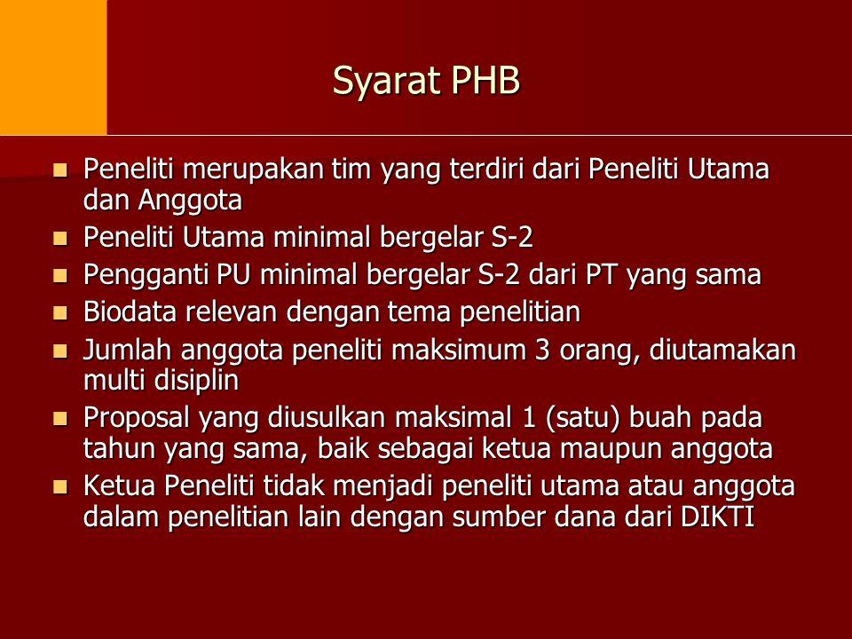 Syarat PHB  Peneliti merupakan tim yang terdiri dari Peneliti Utama dan Anggota  Peneliti Utama minimal bergelar S-2  Pengganti PU minimal bergelar
