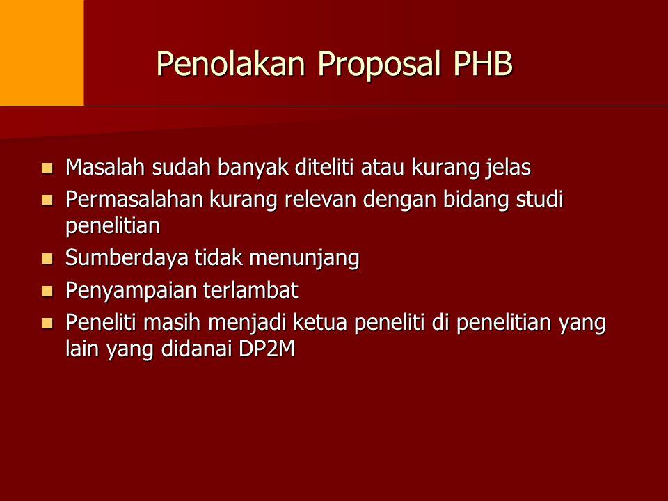 Penolakan Proposal PHB  Masalah sudah banyak diteliti atau kurang jelas  Permasalahan kurang relevan dengan bidang studi penelitian  Sumberdaya tid