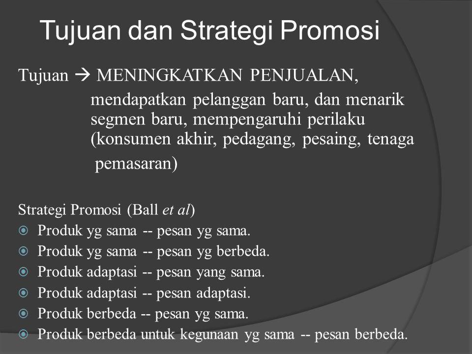 Tujuan dan Strategi Promosi Tujuan  MENINGKATKAN PENJUALAN, mendapatkan pelanggan baru, dan menarik segmen baru, mempengaruhi perilaku (konsumen akhi