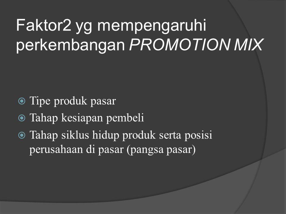 Faktor2 yg mempengaruhi perkembangan PROMOTION MIX  Tipe produk pasar  Tahap kesiapan pembeli  Tahap siklus hidup produk serta posisi perusahaan di