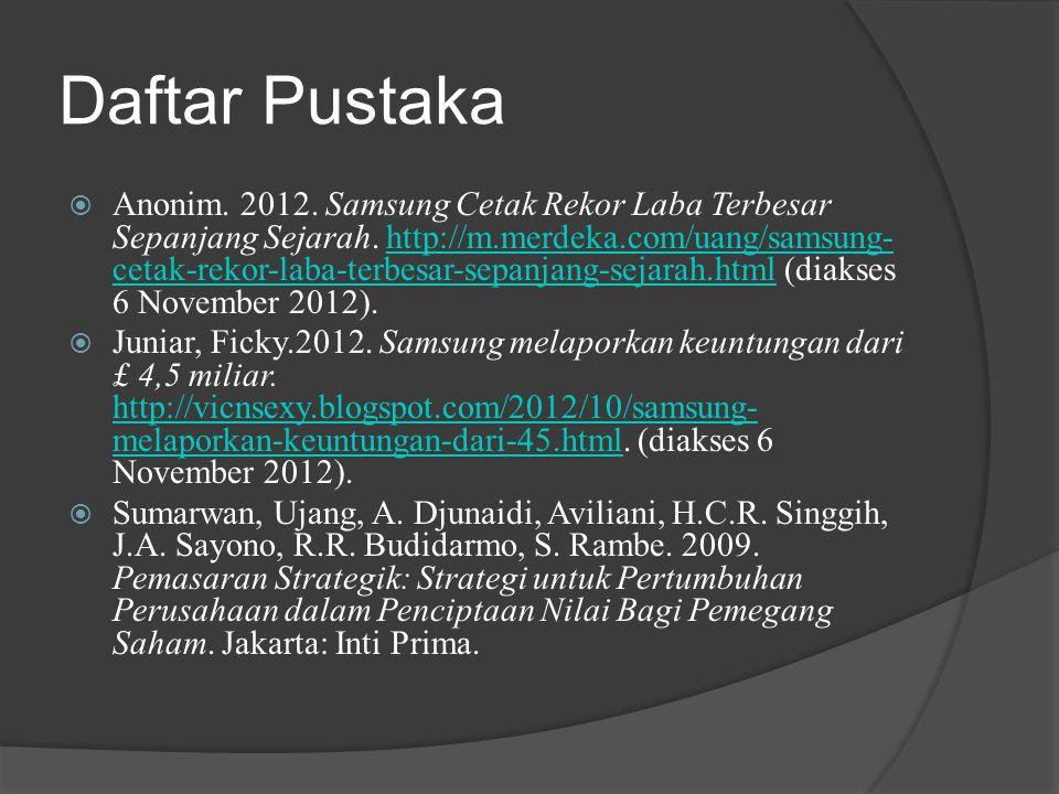 Daftar Pustaka  Anonim. 2012. Samsung Cetak Rekor Laba Terbesar Sepanjang Sejarah. http://m.merdeka.com/uang/samsung- cetak-rekor-laba-terbesar-sepan