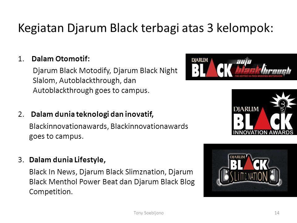 Kegiatan Djarum Black terbagi atas 3 kelompok: 1. Dalam Otomotif: Djarum Black Motodify, Djarum Black Night Slalom, Autoblackthrough, dan Autoblackthr