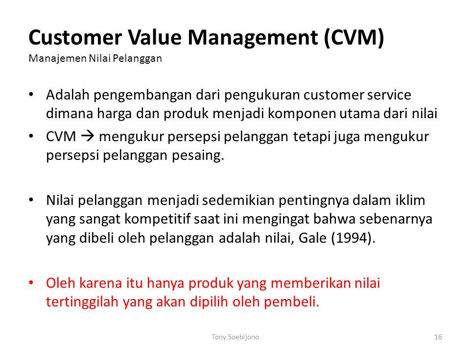 Customer Value Management (CVM) Manajemen Nilai Pelanggan • Adalah pengembangan dari pengukuran customer service dimana harga dan produk menjadi kompo