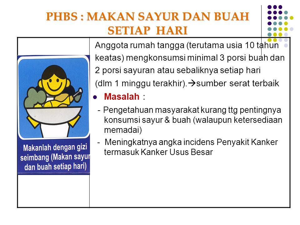 Anggota rumah tangga (terutama usia 10 tahun keatas) mengkonsumsi minimal 3 porsi buah dan 2 porsi sayuran atau sebaliknya setiap hari (dlm 1 minggu t