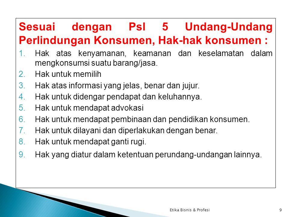 Sesuai dengan Psl 5 Undang-Undang Perlindungan Konsumen, Hak-hak konsumen : 1.Hak atas kenyamanan, keamanan dan keselamatan dalam mengkonsumsi suatu barang/jasa.