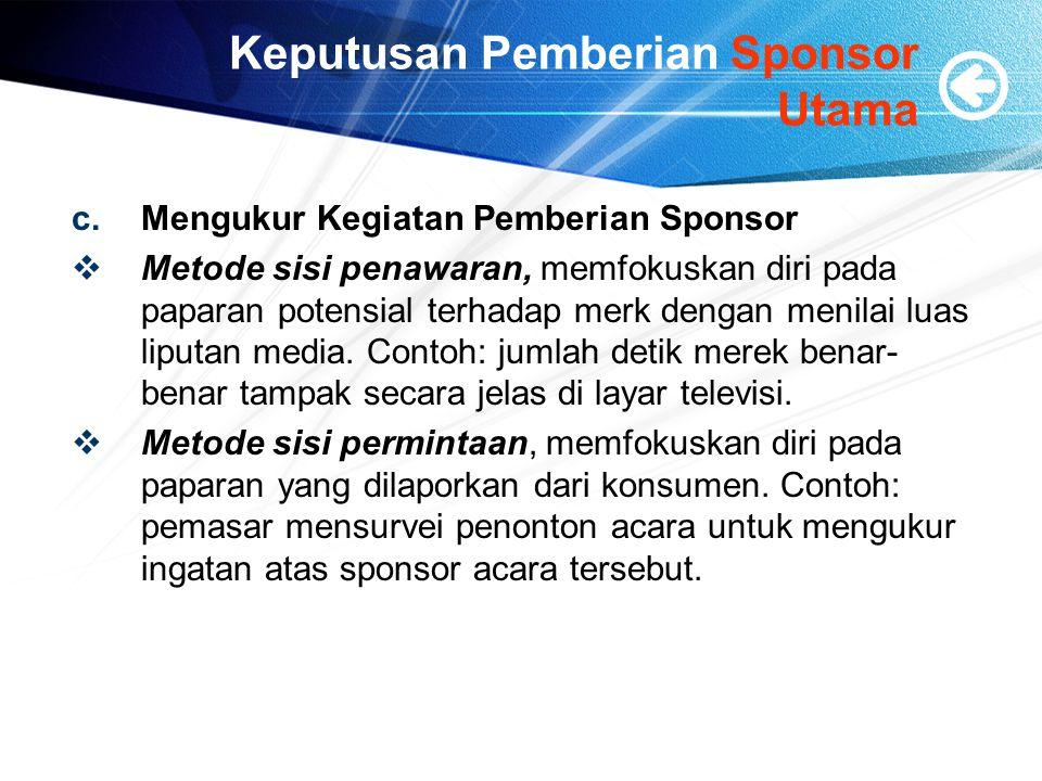 Keputusan Pemberian Sponsor Utama c.Mengukur Kegiatan Pemberian Sponsor  Metode sisi penawaran, memfokuskan diri pada paparan potensial terhadap merk