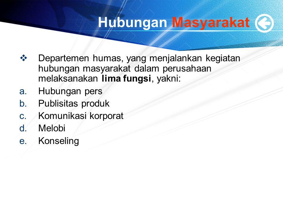 Hubungan Masyarakat  Departemen humas, yang menjalankan kegiatan hubungan masyarakat dalam perusahaan melaksanakan lima fungsi, yakni: a.Hubungan per