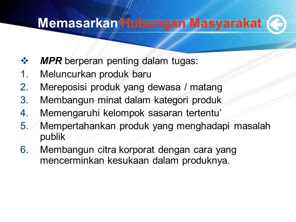 Memasarkan Hubungan Masyarakat  MPR berperan penting dalam tugas: 1.Meluncurkan produk baru 2.Mereposisi produk yang dewasa / matang 3.Membangun mina
